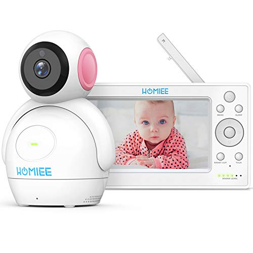 """Video Baby Monitor, HOMIEE 720P Digital Camera, 5"""" HD LCD Display & 1000 Ft 2.4G Wireless Connection, Rechargeable Monitor, Night Vision, Sound/Temperature Alarm, Lullabies and Two-Way Audio Talk"""