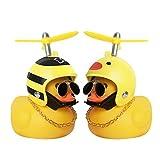 Piaek juguetes de pato de goma, decoraciones de tablero de coche de pato, adornos de coche de pato de goma, pato fresco con hélice / casco / gafas de sol / cadena de oro (c)