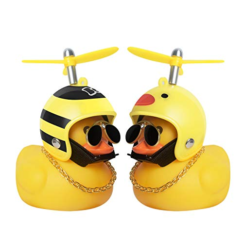 PiAEK Duck Car Dashboard Decorations Rubber Duck Car Ornaments Cool Duck with Propeller Helmet Sunglasses Gold Chain(Bee + Duck)