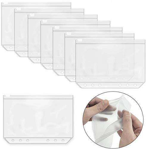 Fyess 30Pcs 6 Holes Binder Pockets Plastic Binder Zipper Folders,6-Ring Notebook Binder Loose Leaf Bags,Waterproof Pouch Document Filing Bags (A6)