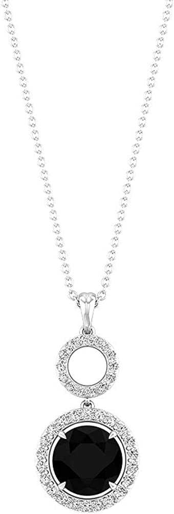 Unique 2.61 CT Black Onyx Certified Diamond Halo Pendant, April Birthstone Dangle Necklace, Open Circle Solitaire Anniversary Pendant Gift