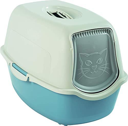 Rotho Bailey, Caja de arena con capucha y solapa, Plástico PP sin BPA, paloma azul, blanco, 56.0 x 40.0 x 39.0 cm