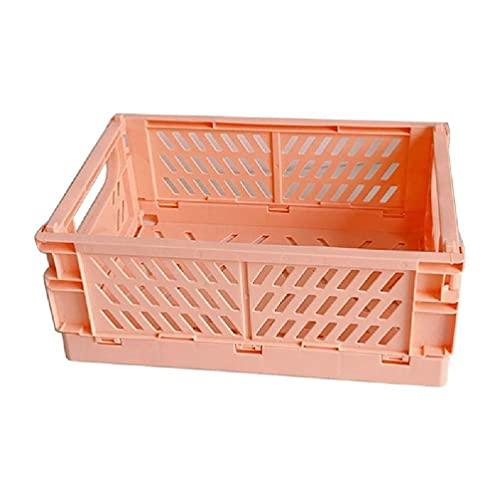 YUSHU Caja plegable de plástico Caja de almacenamiento plegable Cesta de utilidad Contenedor de cosméticos Soporte de escritorio Uso doméstico Caja de plástico plegable de frutas y verduras para armar