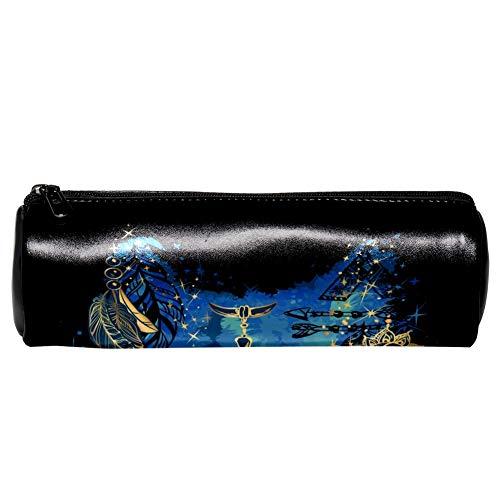 Federmäppchen aus Leder, Zylinderform, Wasserwolf, mit Kopfbedeckung, Kosmetiktasche