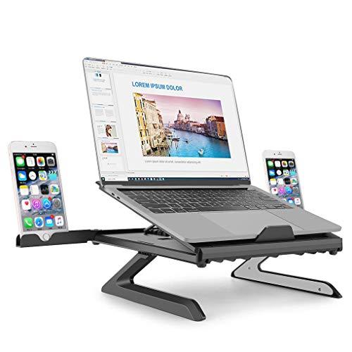 Support Ordinateur Portable Refroidisseur Pliable à Angle Réglable Ventilé Ergonomique Léger pour MacBook Air/Pro, Surface Go, Lenovo Thinkpad, Autre Tablette et Laptop 10-17 Pouces, Noir