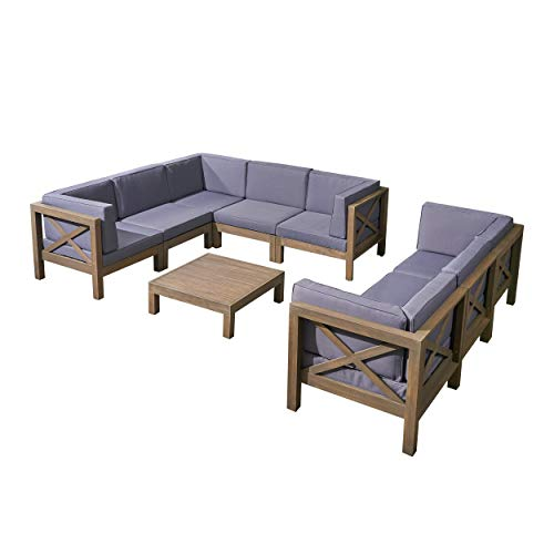 Great Deal Furniture Cytheria Outdoor Acacia Wood 8 Seater Sectional Sofa Set with Coffee Table, Gray and Dark Gray