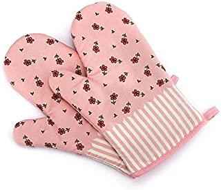 Glove Oven - 2x Oven Gloves Microwave Bbq Cotton Baking Pot Mitts Heat Resistant Cooking Pink - Rubber Cooking Oven Heat Women Resistant Gloves Oven Mitts Sleeves Mario Silicon Glove Mitt Flower