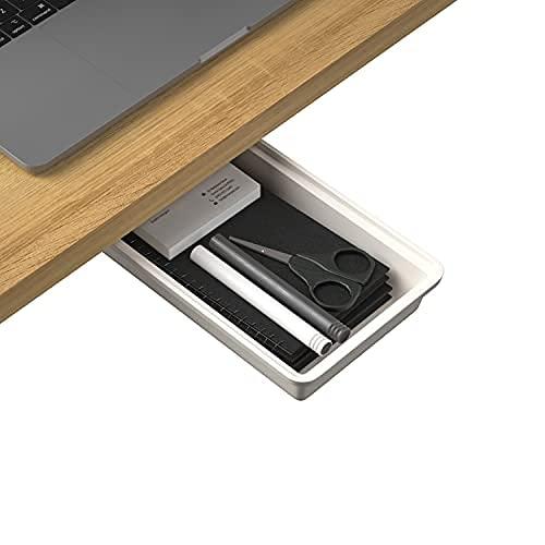 Organizador de almacenamiento oculto debajo de la mesa, 1 paquete, bandeja de escritorio autoadhesiva para la oficina, bandeja de almacenamiento debajo de la mesa, cajón para la cocina