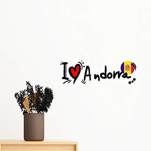 DIYthinker Ik hou van Andorra Word Vlag Liefde Hart Illustratie Verwijderbare Muursticker muurschildering Diy Wallpaper Vinyl Room Home Decal Decor