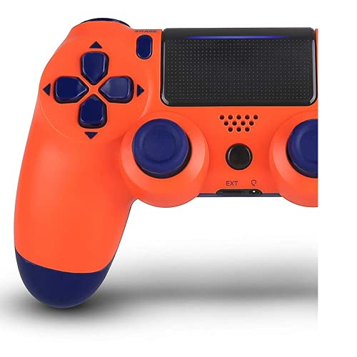 Wireless Controllers Compatible With for P-S4, Wireless Remote Control, YU33 P-S4 Joystick Gamepad for P-s4 Controller with Double Shock, Charging Cable (Sunset Orange)