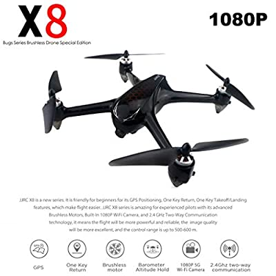 Mintu JJRC X8 Drone with 1080P HD Camera and GPS Return Home RC Quadcopter for Adults Beginners with Brushless Motor,Altitude Hold, Follow Me,5G WiFi FPV, Low-Voltage Protection