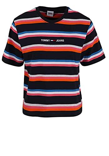 Tommy Jeans Damen Tjw Bxy Crop Stripe Tee T-Shirt, Twilight Navy/Multi, Small