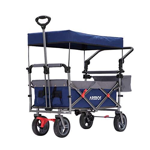 Arebos Bollerwagen Premium faltbar mit Dach | Handwagen | Transportwagen | klappbar | bis 100 kg | Vorder- und Hinter-Bremse | Blau