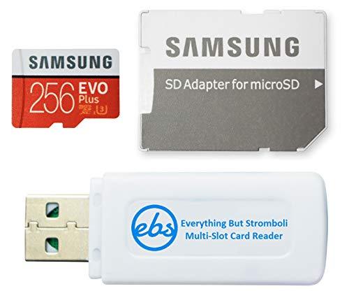 Cartão de memória MicroSD Samsung 256GB Evo Plus Class 10 funciona com tablet Galaxy Tab S5e, Tab S4 10.5, Tab 10.1 (2019), Book S (MB-MC256G) Pacote com (1) leitor de cartão Tudo Menos Stromboli