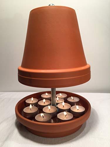 Teelichtofen, Mückenschutz, Tischkamin, Kerzen, Teelichtheizung, Teelichtkamin, Feuerschale, Terrakotta, Steingut, Teelicht, Geschenk, plus Starterset:...