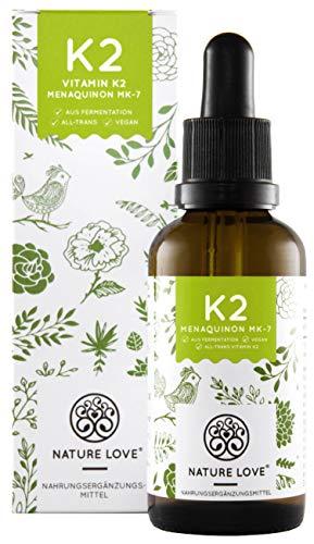 NATURE LOVE® Vitamin K2 MK-7-200µg, 1700 Tropfen, 50ml. Höchster All-Trans Gehalt 99,7{bacf733758b5cc874bfa48b76fbbc6fdf919c53614b6e3105096f41a854045e7} und natürlich fermentiert. Premium: Gnosis VitaMK7. Flüssig, vegan, hergestellt in Deutschland