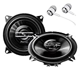 Pioneer TS-G1020S 420 Watts Max Power 4' 2-Way G-Series Coaxial Full Range Car Audio Stereo Speakers with ALPHASONIK Earbuds