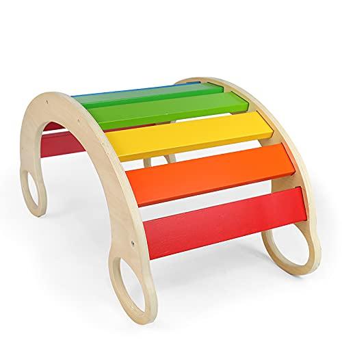 HBIAO Mecedora arcoíris Multifuncional de Madera para niños, Tablero de Equilibrio, Escalada, jardín de Infantes Interactivo, educación temprana, Juguetes educativos