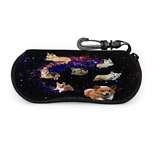 Eyeglasses Case Galaxy Cute Corgi Running Glasses Case Spectacle Storage Box Glasses Pouch Sunglasses Holder Shell With Zipper