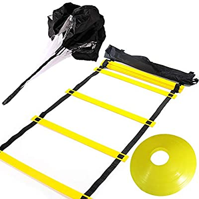 Huvai 6m 12 Rungs Agility Ladder Training with A Resistance Parachute, 12 Yellow Disc Cones, A Carry Bag