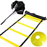 Huvai 6m 12 Rungs Agility Ladder Training with A Resistance Parachute, 12 Yellow Disc Cones, A Carry...