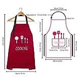 MengH-SHOP Schürze Unisex Kochschürze Wasserdicht Latzschürze mit 2 Taschen und Verstellbar Nackenband Professionell Kellnerschürze Backschürze Grillschürze Latzschürze (Rot) - 5