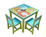 ODT Juego de mesa y sillas para niños, mesa de madera, 1 mesa, 2 sillas, 1 mesa y 2 sillas '4 animales'