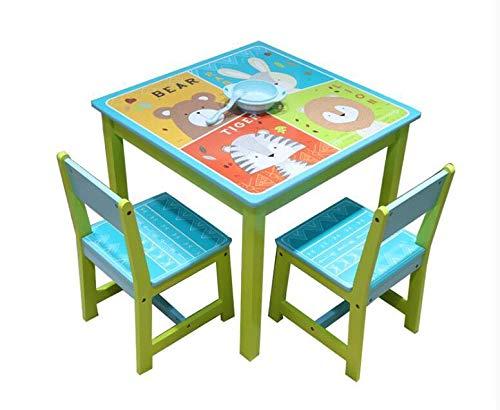 ODT Juego de mesa y sillas para niños, mesa de madera, 1 mesa, 2 sillas, 1 mesa y 2 sillas