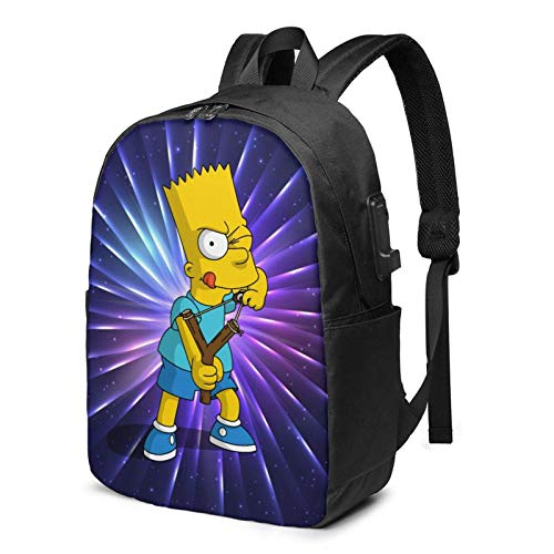 Bar-T Simp-Son - Mochila de viaje para portátiles y mujeres, mochila escolar, ligera, 17 pulgadas