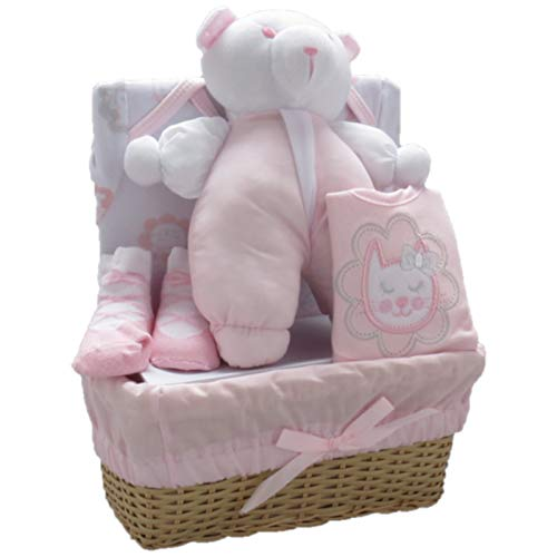 Bee Bo Baby Gift Set with Bodysuit, Bib, Socks and Teddy Bear in a Rattan Basket. 0-3 Months. Available in Blue, Pink, Cream, Lemon Or White.