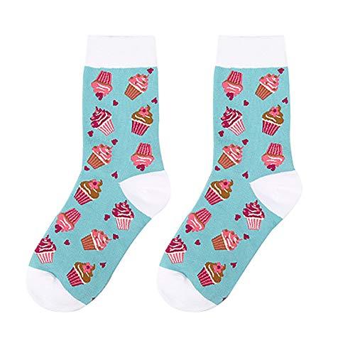 MoGist Damen Sneaker Socken Kreatives Karikatur Nachtisch Fruchtmuster Baumwollsocken Winter Thermal Socks Mittel Lange Socken (Kuchen)