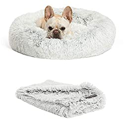 Best Friends by Sheri The Original Calming Donut Dog Bed in Shag Fur, Self-Warming Machine Washable Pet Bed in Multiple Sizes