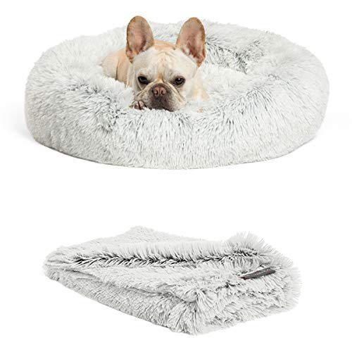 Best Friends by Sheri Bundle Savings - The Original Calming Shag Donut Cuddler Dog Bed in Small 23''...