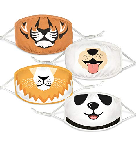 100% Organic Cotton Kids Washable, Reusable Face Masks with Adjustable Ear Loops for Children 6-12...