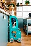Learning Tower - Torre educativo per bambini con tavolo e sedia, trasformabile, in vero legno biologico (blu)