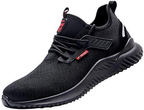 Patiofeel Safety Shoes Work Shoes for Men/Women Anti Slip Anti Smash Anti-Smashing Anti-Piercing Lightweight Breathable Steel Toe Cap Dark Black