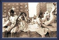 ポスター ジョン バション Hot Summer in the City 1940 額装品 ウッドベーシックフレーム(ブルー)