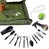 XoXa Set di attrezzi per piante grasse, 14 pezzi, mini utensili da giardino + 1 tappetino per travaso impermeabile e pieghevole, per la cura di piante in miniatura in interni (set da giardino