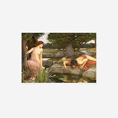 // TPCK // John William Waterhouse - Echo et Narcisse (1903) - Classique Peinture Photo Poster Print Art Cadeau Mural Home Decor - Métamorphoses d'Ovid's - Taille: 30x20cm