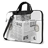Cute Cat Behind The Newspaper Impreso Laptop Bag, Handbag Business Shoulder Messenger Bag Maletín