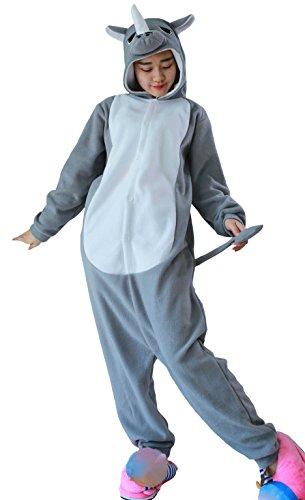 Unisex Animal Pijama Ropa de Dormir Cosplay Kigurumi Onesie Gris Rinoceronte Disfraz para Adulto Entre 1,40 y 1,87 m