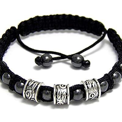 Taille 19-20cm Bracelet Homme/Men's Style Shambala Perles Hématite noir Métal couleur argent vieilli Aspect Antique style tibétain fait main BRAPRIMER15