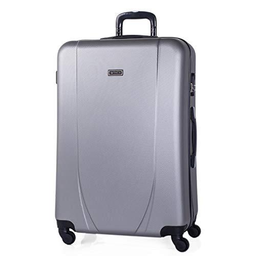 ITACA - Maleta de Viaje Grande XL Rígida 4 Ruedas Trolley 75 cm de ABS. Práctica Cómoda y Ligera. Gran Capacidad Bonito Diseño. Estudiante y Profesional. 71170, Color Plata
