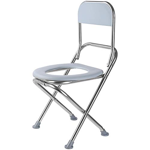 VETIN Folding Commode Chair Portable Toilet Seat with Backrest,28.6' High Stainless Steel Bedside Commode Chair Perfect for Camping, Hiking, Trips.