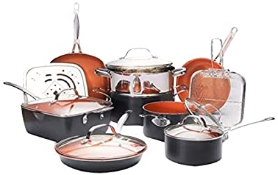 Gotham Steel 1752 Ultimate 15 Piece All in One Chef's Kitchen Set with Non-Stick Ti-Cerama Copper Coating – Includes Skillets, Stock Pots, Deep Fry Basket and Shallow Square Pan (Renewed)