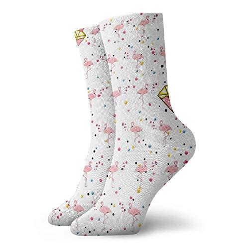 Warm-Breeze Belle Flamingo Cartoon Diamond Crown Chaussettes de compression Chaussettes unisexes Chaussettes d'équipage Chaussettes fines Cheville courte pour évacuer l'humidité