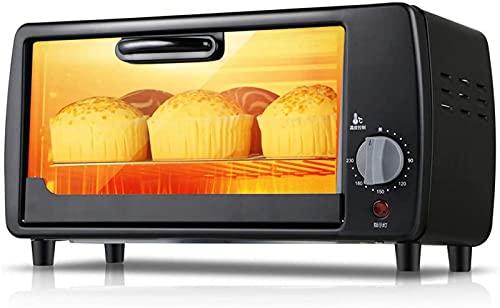 ZJDM Mini Horno Negro de 9L Temperatura Ajustable 0-230 ℃ Posición de horneado de Tres Capas Horno doméstico Multifuncional Horno eléctrico Totalmente automático Hornear Pastel Pan Pizza con acce