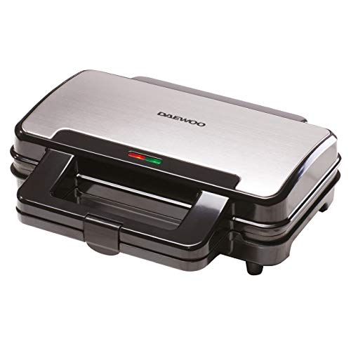 Daewoo SDA1389 900W Deep Fill 4 Slice Kitchen Sandwich Maker-Cool Touch Handles-Safety Thermal Cut Out-Thermostatically Controlled-Black, Silver