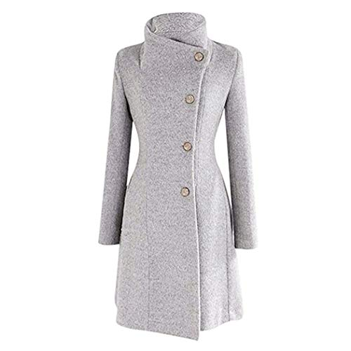 Countia Women's Winter Wool Trench Coat Casual Turn-Down Collar Outwear Jacket with Belts