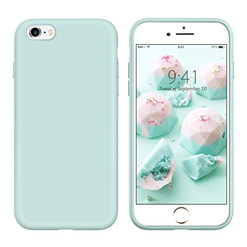 YINLAI iPhone 6S Plus Case iPhone 6 Plus Case Slim Liquid Silicone Drop Protection Non Slip Grip Soft Rubber Protective Cover Durable Girls Women Phone Case for iPhone 6S Plus/6 Plus,Mint Green